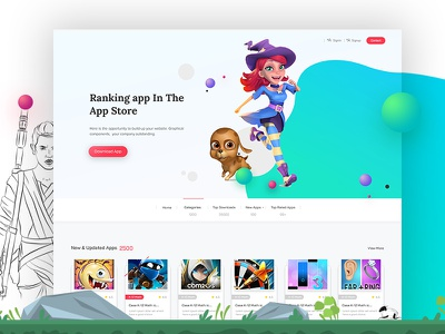 Application store Web Template games app store illustration inspiration design clean ui psd