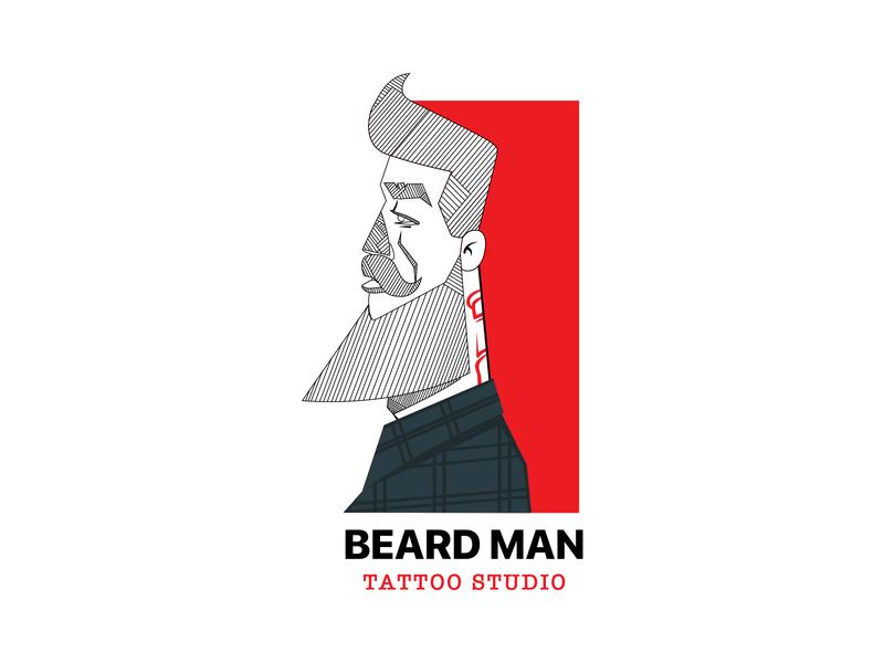 Beard Man Tattoo Studio tattoos tattoo artist tattoo design tattoo art studio tattoo trending clean branding colorful design logo inspiration creative