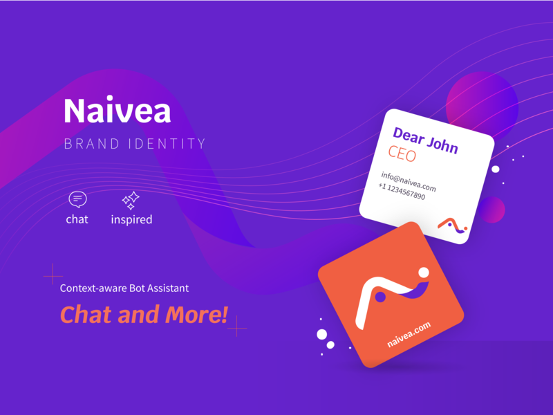 Naivea Branding businesscard branding concept illustration ai chatbot startup logo