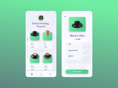 Neomorphic cafe order phone app design concept delivery order mcdonalds kfc food starbucks deserts cafe coffee app websites apps website web ux ui