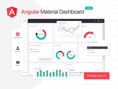 Angular Material Dashboard free angular trendy design trendy development web development dashboard graphic design web admin template javascript template gradient app ux ui