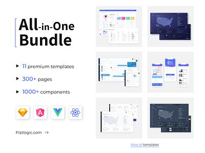All in One Bundle admin templates bundle framework admin template javascript web app dashboard ux ui vuejs reactjs angular admin template vue react angular