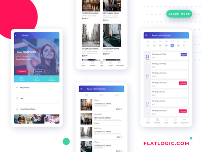 React Native Starter free react native trendy react design interface admin template app web dashboard ux ui