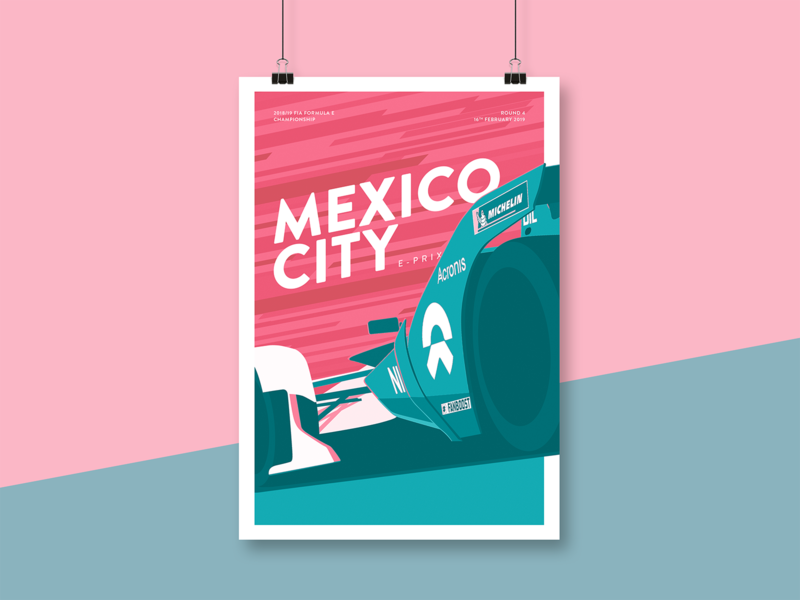 FIA Formula E – Mexico City E-Prix Illustration racecar car nio mexico city mexico motorsport illustration racing formula e