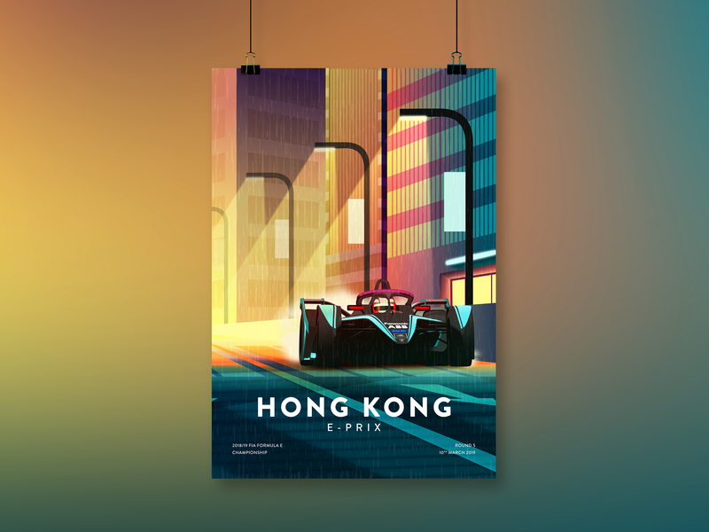 FIA Formula E – Hong Kong E-Prix Illustration urban neon hong kong vector poster motorsport illustration formula e racing