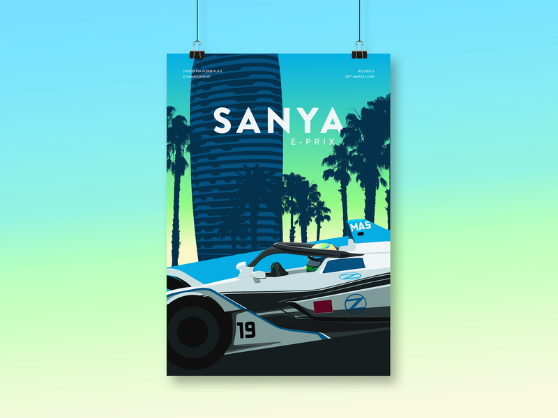 FIA Formula E – Sanya E-Prix Illustration vector poster illustration sanya hainan formula e motorsport racing china