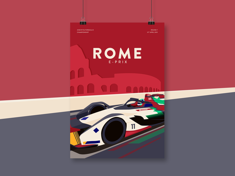 Rome E-Prix Illustration poster car vector motorsport formula e illustration racing