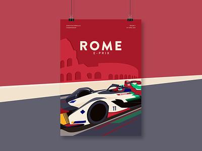 Rome E-Prix Illustration poster car vector motorsport formula e illustration racing