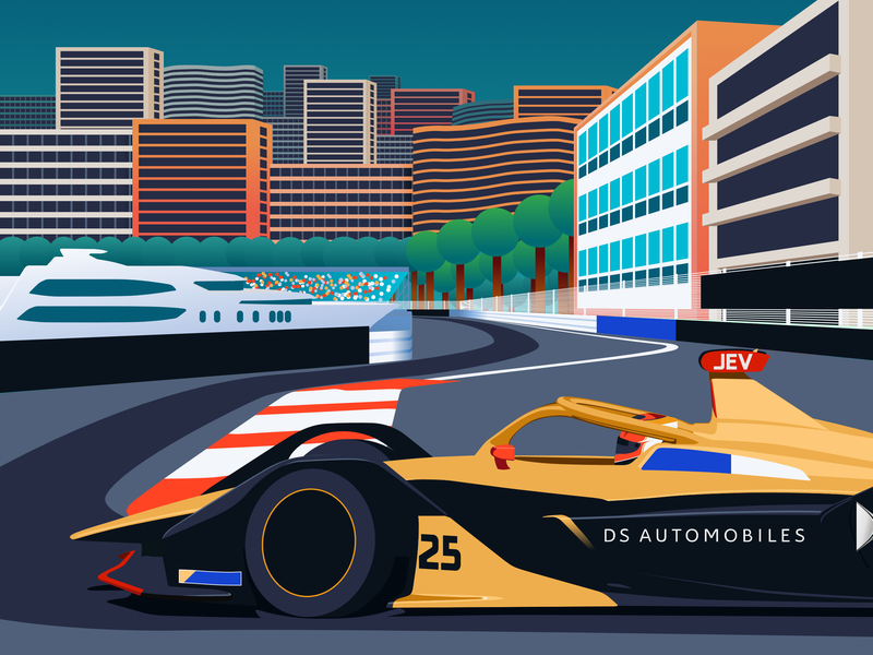 Monaco E-Prix 2019 – FIA Formula E car vector design motorsport illustration formula e racing