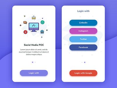 Social Media buttons illustration new design social app