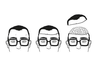 Geek geek illustration lineart brain hipster vector