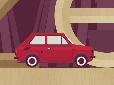 Maluch fiat 126 car icon illustration vector flat