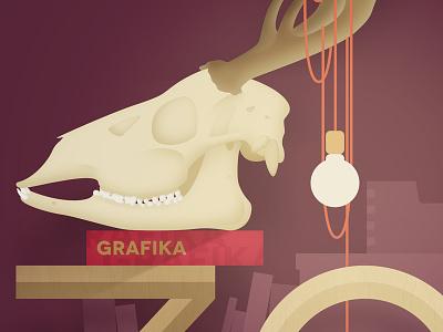 Skull skull vector illustration animal light