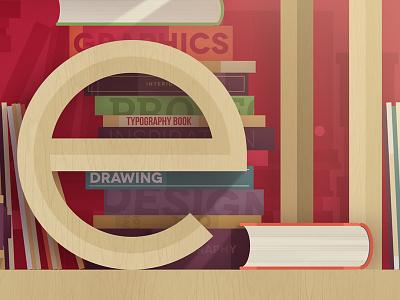Bookshelf typography illustration print books vector letter newspaper bookshelf giclee graphic design colorful