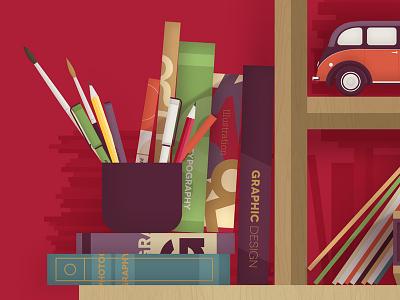Bookshelf brush pen pencil graphic giclee car newspaper vector books print illustration typography