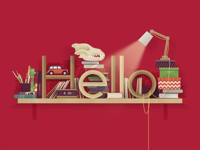 Hello giclee typography clock newspapers pencils brush bookshelf books lamp car vector illustration