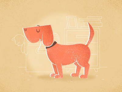 Dog furniture toys giclee vintage vector room books dog animal character cartoon illustration