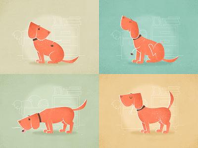 Spider furniture toys giclee vintage vector room books dog animal character cartoon illustration