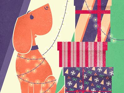 Christmas card christmas cards postcards vector vectors illustration dog present christmas lights