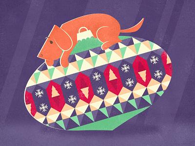 Christmas card christmas cards postcards vector vectors illustration dog christmas lights christmas bauble