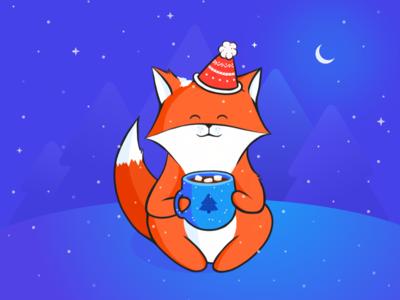 Warm inside sweet marshmellow cacao xmass winter snow new year gift fox christmas celebration illustration