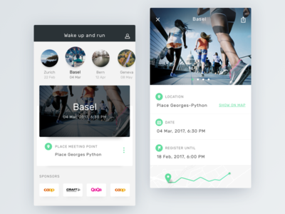 Wake up and run card light event run mobile ux ui clean interface ios app sport