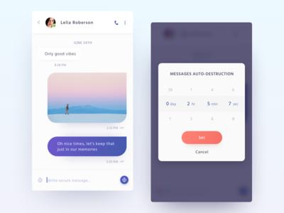 Secure messenger iOS app secure minimalistic clean white chat timer message messenger app ios concept ui