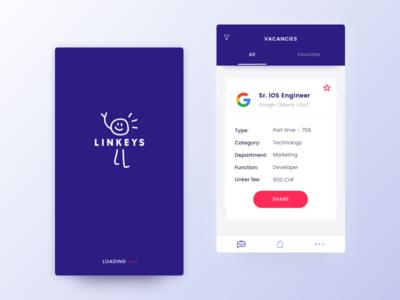 Headhunters iOS App tab bar clean simple interface ios app logo recruiting ux ui cards launch screen interface design