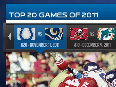 Top 20 Games of 2011 -  Nav navigation nfl sports ui