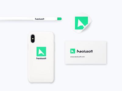 Aeolusoft - logo adaptivity on stationery iphone phone case businesscard case sticker pen brand identity mark adaptive design adaptive logo branding corporate modern clean