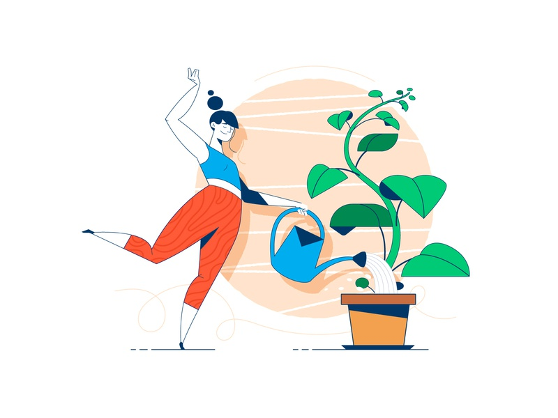 Growth vector website dance water characterdesign character plant yoga webgraphic illustration