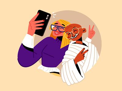 Gen Y with Gandhi gandhi happy phone selfie millennials infographic vector character design character illustration