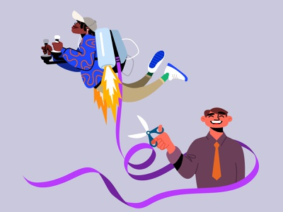 Gen Z - Need to fly cut vector scissors jetpack flying ribbon workplace young adult character design infographic character illustration
