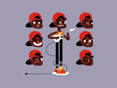 Musician pupil music guitar faces kid pupil student character design vector animation illustration musician character
