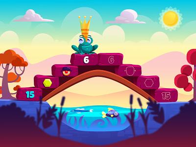Frog king king children kids fish bridge illustration vector game frog