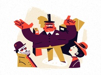 Auction auction flat character animation vector illustration