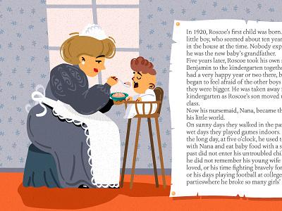 benjamin button2 feeding ebook tale animation vector baby children book illustration