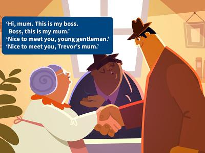 Boss, Trevor and Mum lights childrens illustration book vector kids illustration mum gangsters childrens book characters illustration