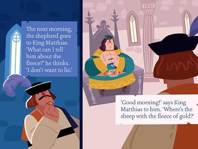 King Matthias 2 comic character design shepherd king tale animation childrens illustration childrens book vector illustration