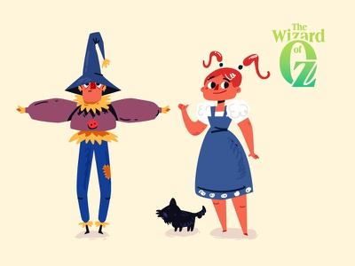 The Wizard of Oz 01 dog toto tale wizard of oz scarecrow dorothy flat vector animation illustration character
