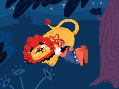 The Wizard of Oz 03 kids book book sleep night woods toto dorothy lion wizard of oz flat vector animation illustration character