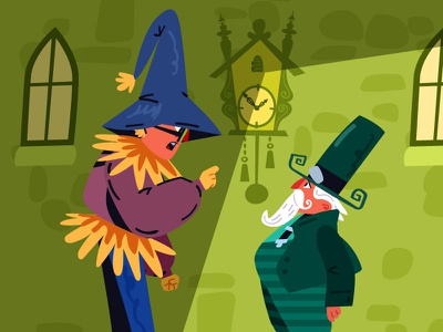 The Wizard of Oz 05 goblin scarecrow flat tale kids book wizard of oz vector character animation illustration