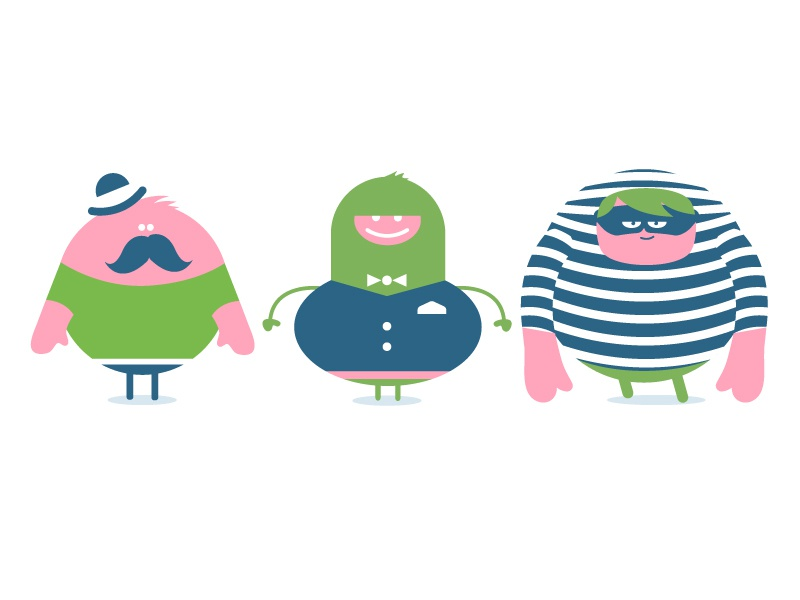 Strange Guys mustache tie striped hat funny characters guys animation
