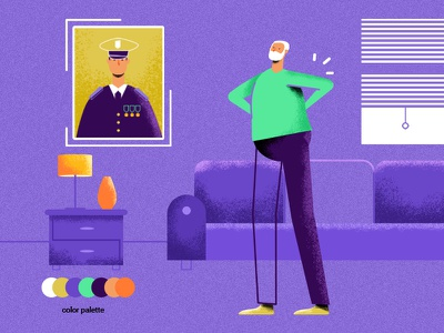 Joe pastell grandpa room soldier character animation
