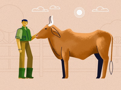 farmers1 asia cattle cow farmer climate characters animation