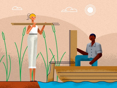 farmers4 charity help boat climate character illustration animation