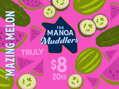 Manoa Muddlers flat branding design vector illustration