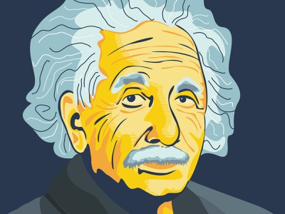 Albert Einstein vector flat illustration