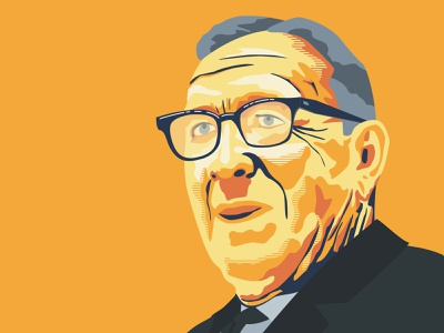 John Wooden vector flat illustration