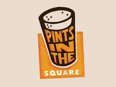 Pints In The Square branding illustration logo design